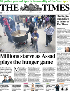 Food aid is distributed to children in Aleppo. Don McCullin's last conflict assignment (December 11th 2012)