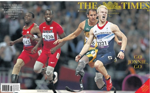 Jonnie Peacock winning the men's 100m T44 final in the London 2012 Paralympics (September 7th 2012)